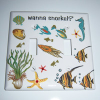 Sea life/snorkling double light switch cover - swarovski crystals