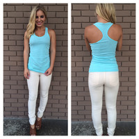 Sky Blue T-Back Cotton Tank