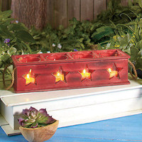 Stars Wooden Tea Light Candle Boxes - Mantle Porch Country Home Decor Accent