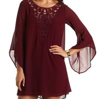 Crochet Bib Chiffon Shift Dress by Charlotte Russe - Wine