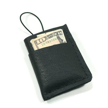 Black Leather Wallet -  Small Wallet with Pockets - Father's Day Gift - Stocking Stuffer - Leather Card Holder - Leather Gift