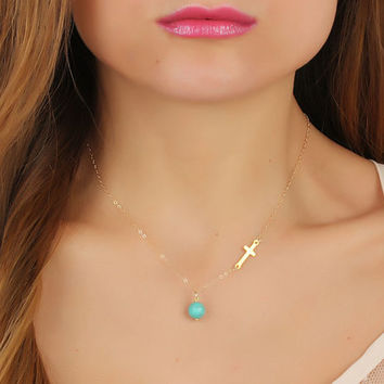 """Gold sideways cross necklace, turquoise necklace, assymetrical necklace, turquoise jewelry, silver cross, gold filled pendant, """"Gaea"""""""