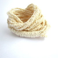 Organic Cotton Cuff Bracelet AND 3 in 1 Accessory Jewelry Headband Necklace Crochet Nude Fashion Summer DoucesLaines Chainette 2