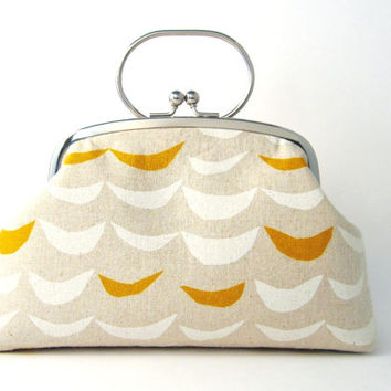 Frame Clutch Purse with Handle- Modern Beige For Women