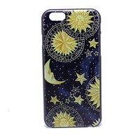 Vintage Retro Sun Moon Space Nebula Pattern Hard Back Skin Case Cover For iPhone 6 4.7 Inch