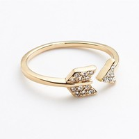 Gold Tone Simulated Crystal Arrow Ring