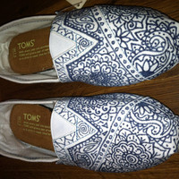 HandPainted Custom Toms Navy on White by allisonayers on Etsy