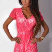 Akina Neon Pink Deep Plunge Lace Playsuit | Pink Boutique