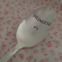 Princess     recycled silverware hand stamped spoon