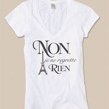 No Regrets Eiffel Tower Paris Tshirt V-neck Cotton Tee