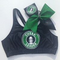 Starbucks cheerleader Sports Bra and bow combo
