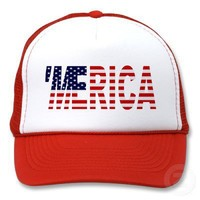 'MERICA US Flag Trucker Hat (red) from Zazzle.com