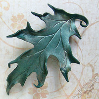 Leather Oak Leaf Barrette in Shimmering Greens and by beadmask