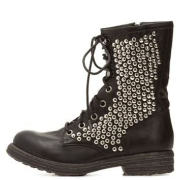 Qupid Studded Combat Boots by Charlotte Russe