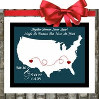 LONG DISTANCE RELATIONSHiP Gifts. Personalized. For Couples. Quotes. US Map. Custom Hearts. Unique For Boyfriend. Girlfriend. Fiance