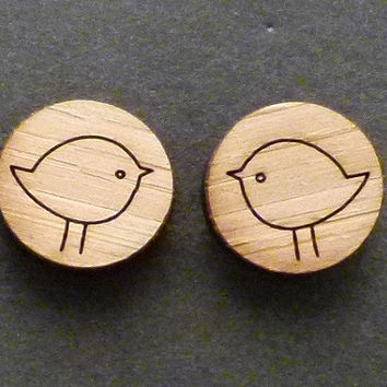 Wooden eco friendly wood studs earrings with birds jewelry