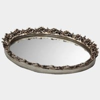 Taymor Antique Oval Mirror Trays, Silver