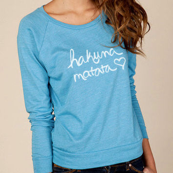 Hakuna Matata Eco Slouchy Long Sleeve Womens Shirt by ShopRIC