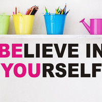 Be You Vinyl Lettering - Vinyl Wall Art -Vinyl Decal Great for a teen girl or boy bedroom  (Larger size)