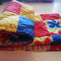 Custom Red, Yellow, Blue Flowers Baby Quilt