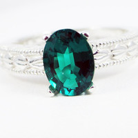 Oval Engraved Emerald Sterling Silver Ring