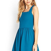 FOREVER 21 Textured Fit & Flare Dress Teal