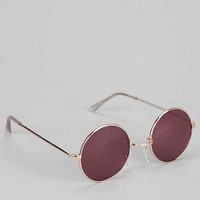 Classic Purple Lens Round Sunglasses - Gold One
