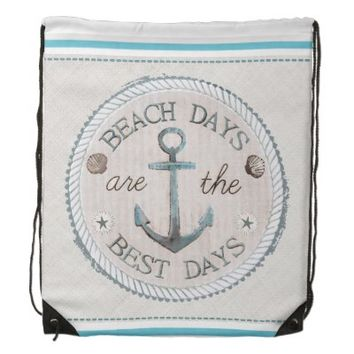 Nautical Best Day Burlap Beach Drawstring Backpack