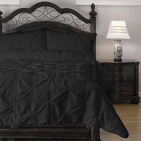 4 Piece Pinch Pleat Puckering Comforter Set by ExceptionalSheets, Full, Black