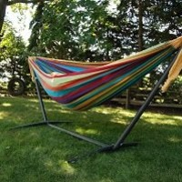 Vivere UHSDO9 Double Hammock with Space-Saving Steel Stand - Tropical