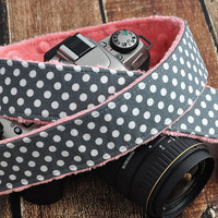 dSLR Camera Strap - Grey and White Polka Dots with Coral Pink Minky - Camera Padded Strap - Padded Camera Strap