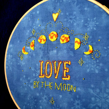 Moon Embroidery design Hand embroidery pattern NaiveNeedle
