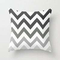 BLACK/GRAY OMBRÉ CHEVRON Throw Pillow by nataliesales | Society6