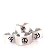 You Pick Ring Om Tree Clover Peace Ohm Good Luck Yoga Jewelry Unique Gift For Her Christmas Stocking Stuffer Under 20 Item K14