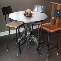"modern industrial bar stool chair(1) 18"" table height chair with back"