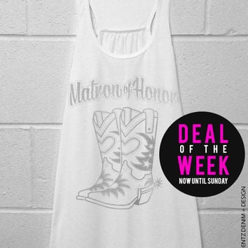 Cowgirl Boots Matron of Honor - White with Silver Flowy Racerback Tank