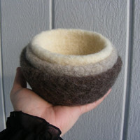 Felted Nesting BowlsNeutral colorsEarthySet by moonflowercreations