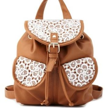 Cognac Lace & Faux Leather Mini Backpack by Charlotte Russe