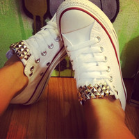 Studded Custom White Low Converse All Star - Chuck Taylors! ALL SIZES & COLORS!!
