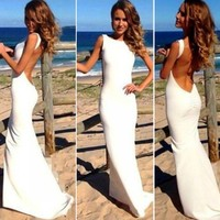 Stunning Sexy Open Backless Bodycon Slim Fit Mermaid Prom Long Gown Maxi Dress A