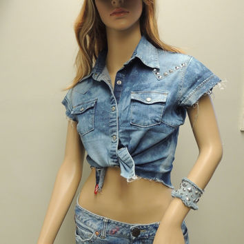 Studded Jean Shirt Women's size Medium
