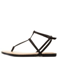 Black Rhinestone Ankle T-Strap Thong Sandals by Charlotte Russe