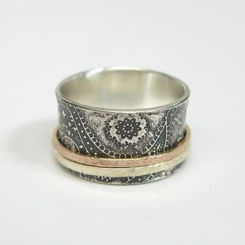 Chunky Paisley Sterling Silver Spinner Ring by janiceartjewelry