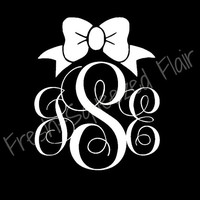 Custom Monogram Car or Laptop Decal - Choose Size and Color