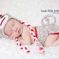 Sock Monkey Diaper cover and Hat Set by Rougefoxescreations