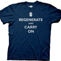 Doctor Who Regenerate And Carry On Heather Navy Mens T-shirt