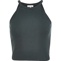 River Island Womens Dark green high neck ribbed crop top