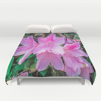 Pink Flowers in the Sun Duvet Cover by Gwendalyn Abrams