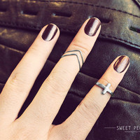 3 Cross and Chevron Knuckle Rings, Tiny Cross Midi Rings, Midi Ring, Above Knuckle ring, , twist ring