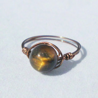 "Handmade Wire Wrapped Ring with Genuine Tiger Eye Stone ""Cheyenne"""